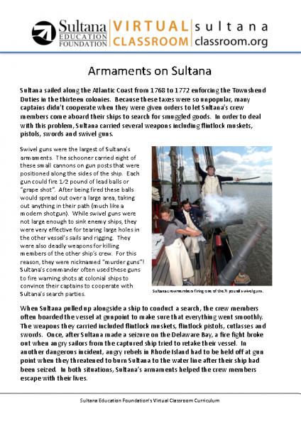 Armaments on Sultana Text