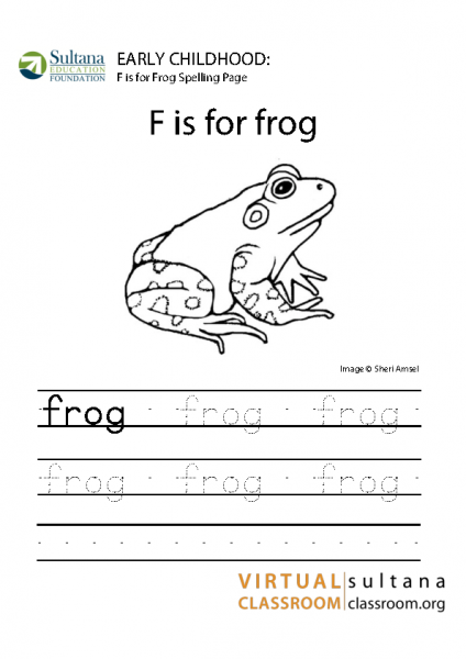 F is for Frog spelling page