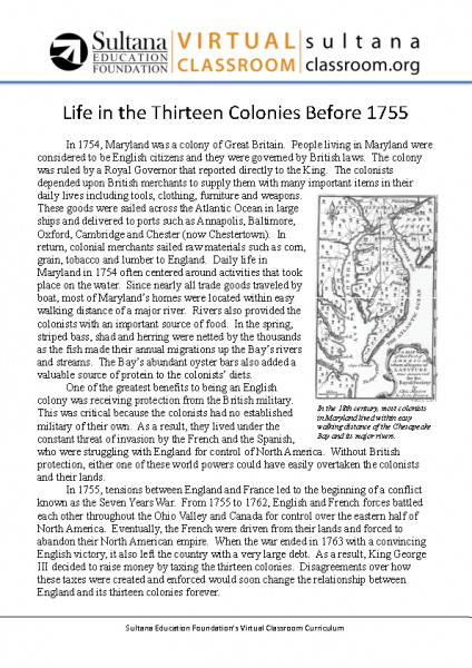 Life in the Thirteen Colonies Before 1755