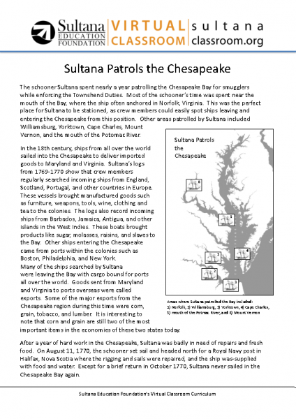 Sultana Patrols the Chesapeake