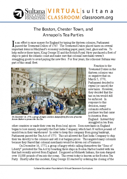 The Boston, Chester Town, and Annapolis Tea Parties