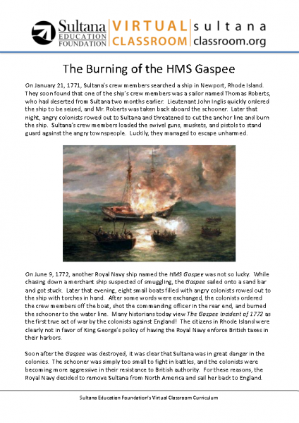 The Burning of the HMS Gaspee